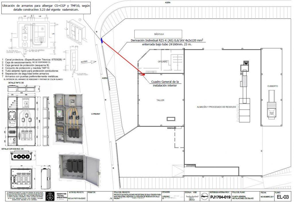 Plano nave industrial instalación instalaciones de enlace - experiencia
