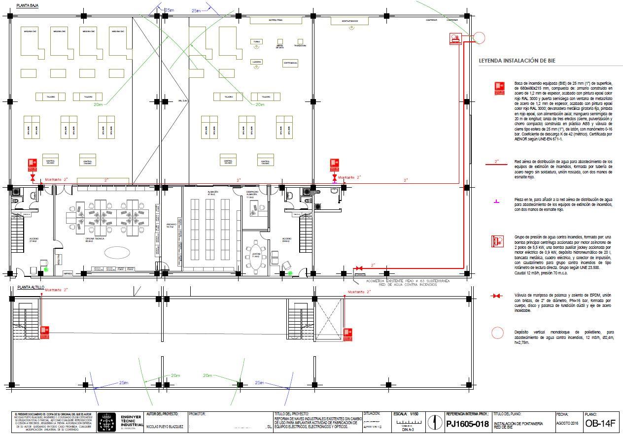 Plano nave industrial instalación contra incendios - experiencia