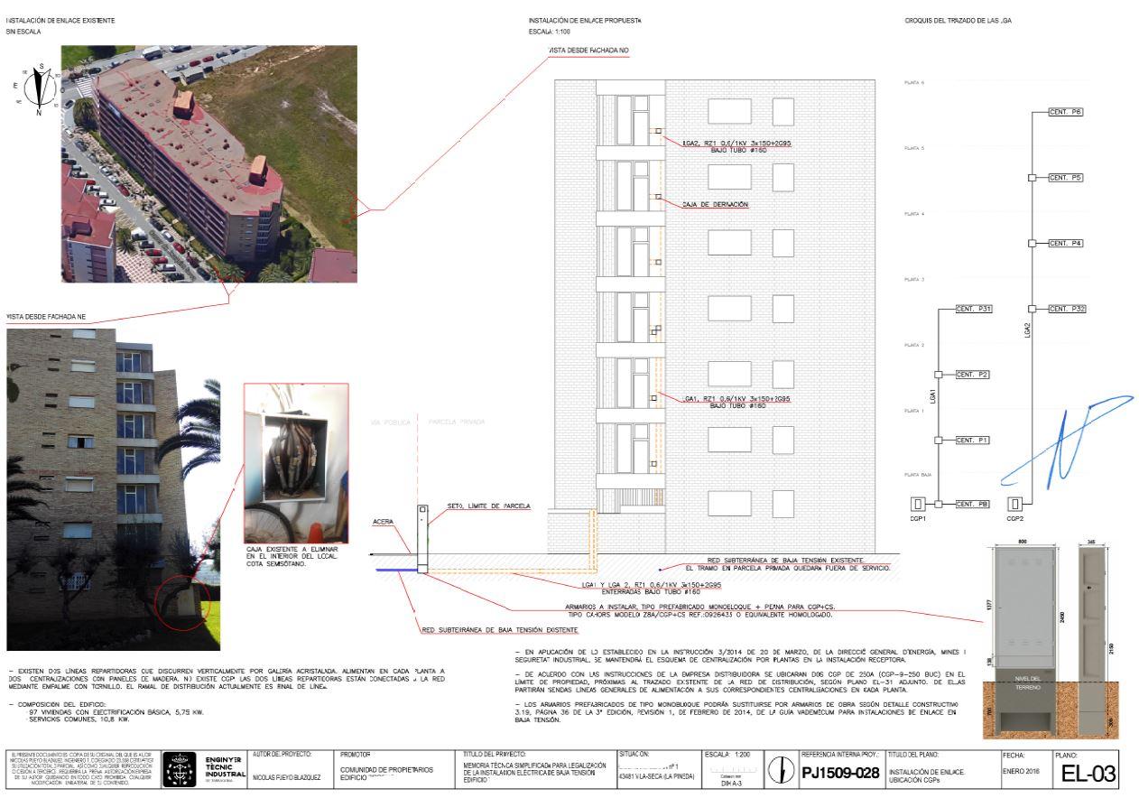 Plano reforma de instalación eléctrica edificio